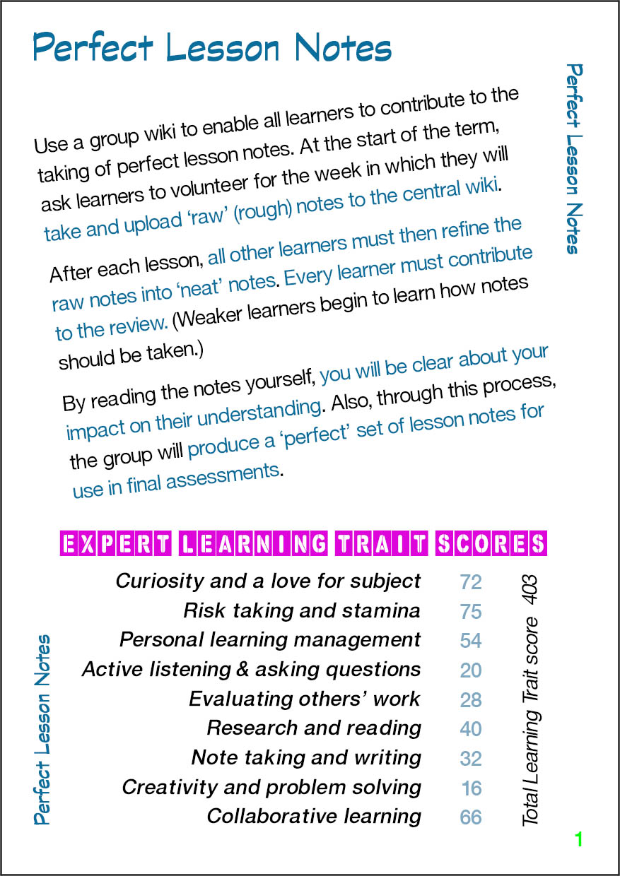 Perfect Lesson Notes - Card 1